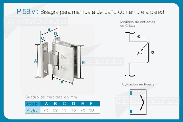 Bisagra mampara bano pared vidrio p58v for Bisagras para mamparas